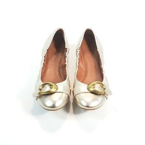 Coach Ballet Flats Cap Toe Gold Leather Gold Tone